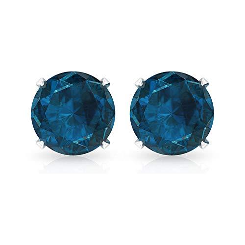 Pendientes de topacio azul Londres con piedra natal de noviembre, solitario de 5 mm, forma redonda, pendientes de tuerca, pendientes de oro simples (calidad AAA), rosca trasera azul