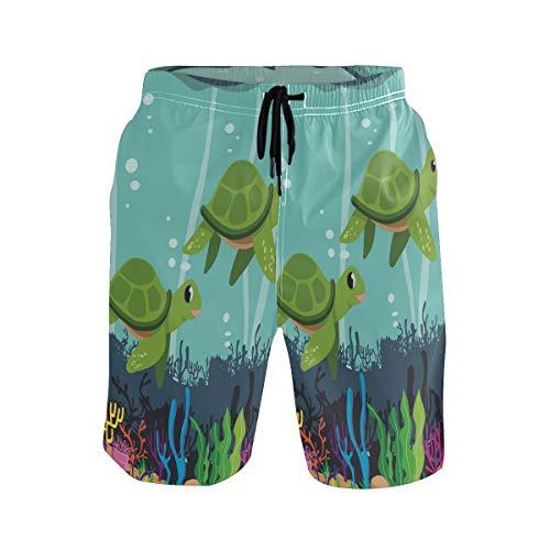 Wasser Cartoon Schildkröte Herren Badeshorts Badehose mitMesh-Futter Boardshorts für Männer Surf Schwimmhose Sporthose