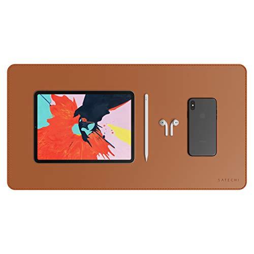 Satechi Ecoレザー デスクメイト デスクマット 漆塗りやニス塗装の木製デスクにも可 (60x30cm) (ブラウン)