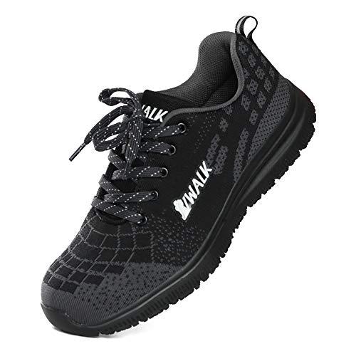 VWALK Men Steel Toe Work Shoes Anti-Puncture Safety Shoes Lightweight Breathable Sneakers Bklack 8 Black