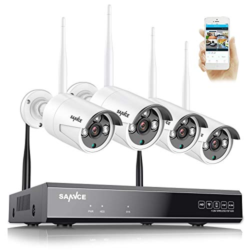 SANNCE WiFi Kit Sistema de Seguridad Inalámbrica 8CH NVR 1080P H.264 CCTV sin Disco Duro + 4 1080P Cámaras de Vigilancia - sin HDD
