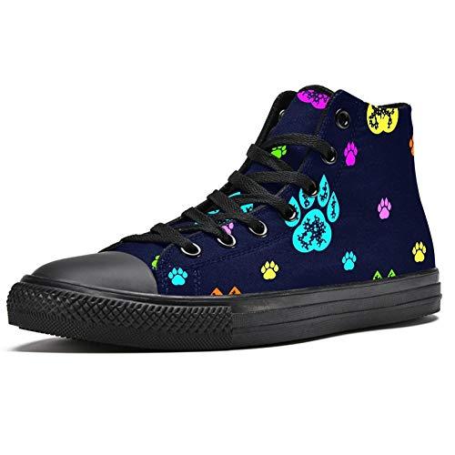 Zapatillas altas para hombre con estampado de huellas de perro coloridas con cordones y cordones, (Multi color), 39 EU