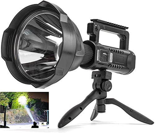 Rechargeable Spotlight Flashlight, 90000 Lumen LED Super Bright Searchlight, 4 Modes IPX5 Waterproof Work Lights with Tripod and USB Output,for Hiking, Camping, Hunting and Emergencies