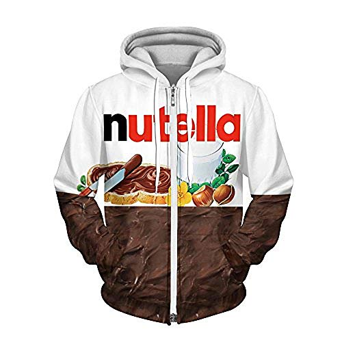 Hdezzz Unisex 3D Print Reißverschluss Pullover Pullover Atmungsaktive Hoodies Gemusterte Sweatshirts mit großen Taschen S-3XL @ L-XL_Nutella