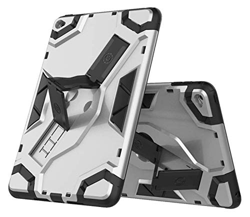 LYB Tablet Cases for IPad Mini 4, Heavy Duty Hybrid Armor Defender Shockproof Tablet Case with Foldable Stand Hand Strap Protective Cover (Color : Silver)