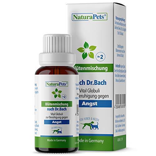 NaturaPets® Vital Globuli zur Beruhigung gegen Angst für Hunde & Katzen I Blütenmischung nach Dr.Bach (10gr. Globuli)