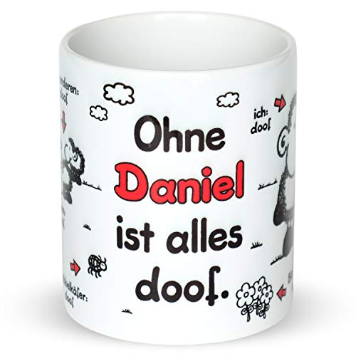 Sheepworld Tasse »Ohne … ist Alles doof.« mit Wunschnamen, personalisiert (weiß)