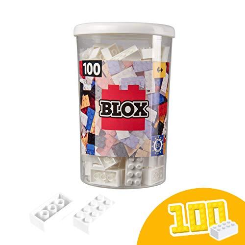 Simba 104118915 Blox, weiße Bausteine Made in Italy, 8er Steine, inkl. Aufbewahrungsdose, höchste Qualität und 100 Prozent kompatibel mit bekannten Spielsteinen