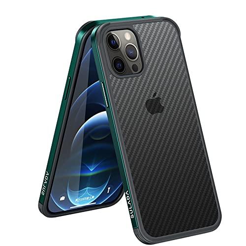 Custodia morbida in metallo strutturato in fibra di carbonio per iPhone 13pro Max Custodia protettiva sottile (iPhone 13 Pro Max, verde)