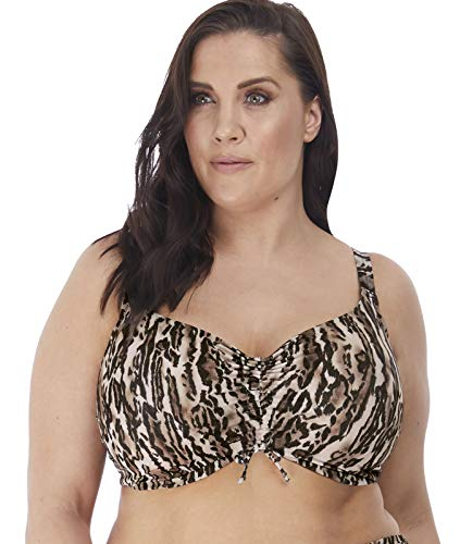 Elomi Plus Size Fierce Underwire Bikini Crop Top, 42H, Black