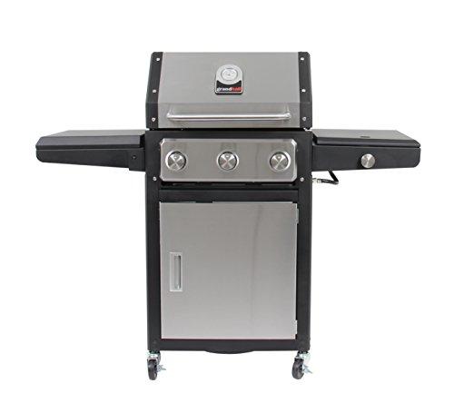 grandhall Parrilla de gas Xenon 3, 3 fuegos con hornillo lateral de acero inoxidable