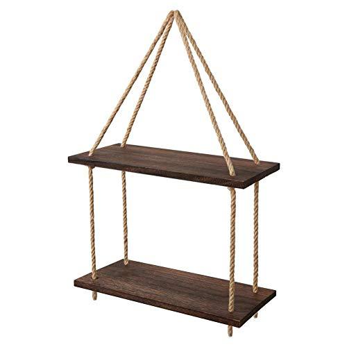 SNIIA Drijvende planken, hangend rek muur gemonteerd jute touw, rustieke houten wandplanken Swing plank afbeelding strip Home Storage Organizer muur decoratie voor slaapkamer woonkamer badkamer