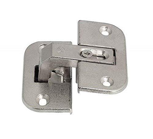 Gedotec Falt-Türscharnier Eckschrank-Scharnier Möbelscharnier Stahl vernickelt | Fuge 4-18 mm | Schrank-Scharnier mit Öffnungswinkel 150° | 3-dimensional verstellbar | 1 Stück - Falttüren-Scharnier