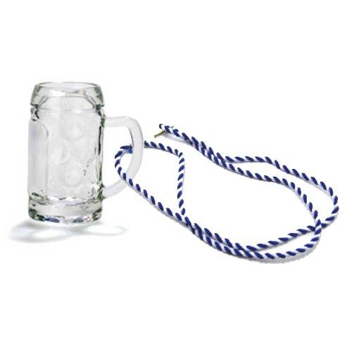 Bierkrug am Band, Schnapsglas, Mini-Stamper, Seidelchen (blau/weiß)
