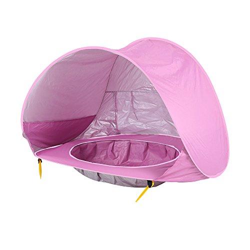 LITTHING Tienda de campaña Plegable para Piscina de bebé, Playa, automático, portátil, Playa, Cabana, protección UV, Refugio Solar para bebés, Rosa