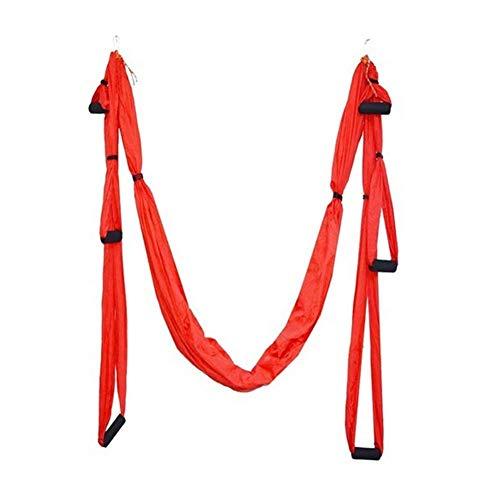 Equipo de entrenamiento Fuerza de descompresión Yoga antigravedad Hamaca Inversion trapecio aérea de tracción Gimnasio Yoga Correa oscilación fijó el cuerpo, aparatos de gimnasia ( Color : Red )