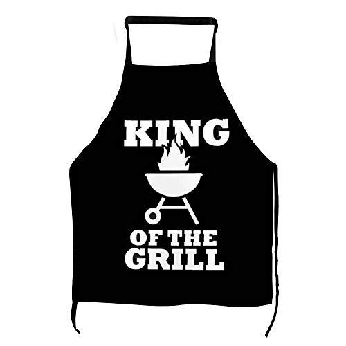 Lustige King of The Grill Grillschürze Männer Frauen Kochschürze Herd Latzschürze mit Taschen BBQ Aprons Kochen Backen Küche Gartenarbeit ly75rtm4jg2u
