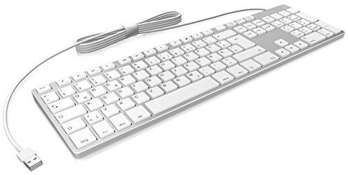 KeySonic PC Tastatur mit USB Kabel, aluminium mit Weißen Tasten, Full-Size, flach