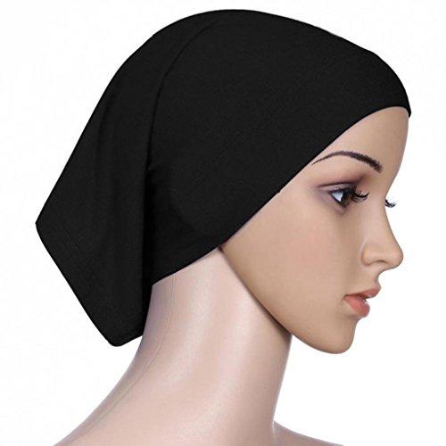 QHGstore Frauen-Kopftuch Elastic Sweat Saugfähige Baumwolle Underscarf Hijab Tube Cap Schwarz