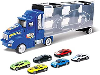 Toy Truck Transport Car Carrier Toy for Boys and Girls age 3-10 yrs old - Hauler Truck Includes 6 Toy Cars and Accessories...