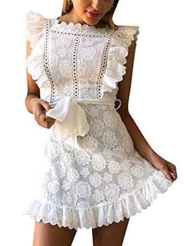 Elegant Lace Ruffle Mini Dress Sleevesless Cotton A-line Dress White 1-L