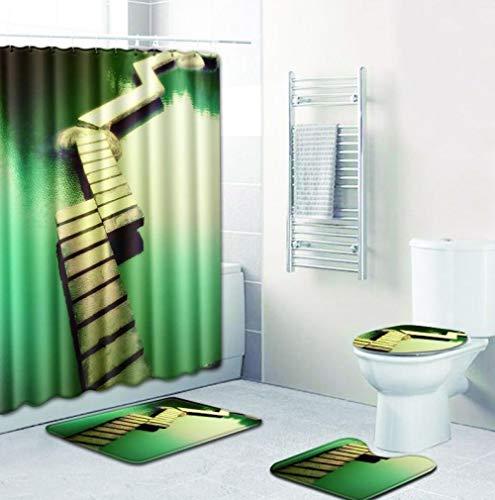 MQWEMJ 4-teiliges Duschvorhang-Set, Grüngelber Wasserweg für Badezimmer, rutschfest, WC-Vorleger + WC-Deckelbezug + Badematte + Duschvorhang mit 12 Haken 150×180 cm
