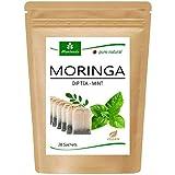 Té de Moringa 100% natural y vegano (opcionalmente Moringa-mezcla de hojas, manzana-canela, granada, jengibre, menta). 1A Calidad (20 bolsitas de té Moringa-Menta)