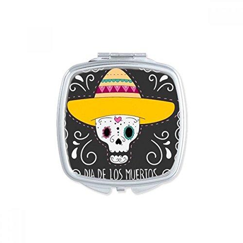 DIYthinker Chapeau de Fleur en Forme de Coeur de crâne Mexique Heureux Le Jour des Morts Place Maquillage Compact Miroir de Poche Miroirs Mignon Petit Multicolore