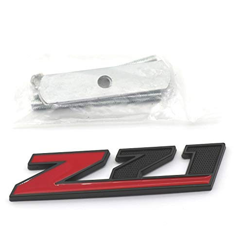 1x 5.1 inch Grille Z71 Emblem Replacement for GM Silverado Sierra TAHOE (Red/Black)