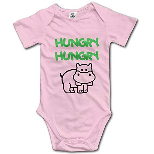 Malisavill Baby Boys Girls Unisex Romper Bodysuit Hungry-Hippo Infant Kawaii Jumpsuit Outfit 0-2T Kids Pink