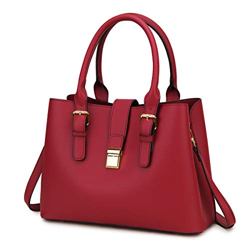 Handbags for Women, VASCHY Soft PU Leather Top Handle Bag Ladies Satchel Work Tote Shoulder Bag with Triple Compartments,Burgundy