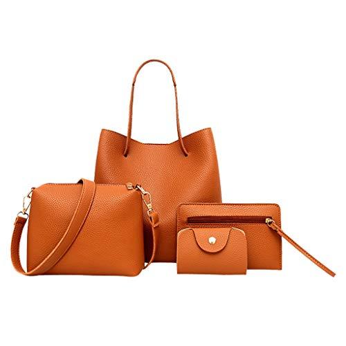 Best Buy! Ikevan 4Pcs Fashion Women Pattern PU Leather Handbag+Crossbody Shoulder Bag+Messenger Bag+Card Package For Girlfriend Wife Woman (Brown)