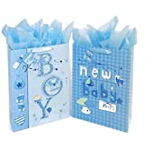 16.5' Extra Large Baby Shower Gift Bags (Glitter Pop-up Design Picture) with Tissue Papers/Handles and Tags for Baby Boy 2-Pack (Blue)