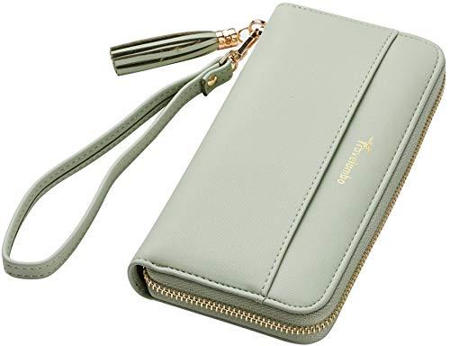 Travelambo Womens Wallet Tassel Bifold Ladies Cluth Wristlet Wrist strap Long Purse (Access Green Light)