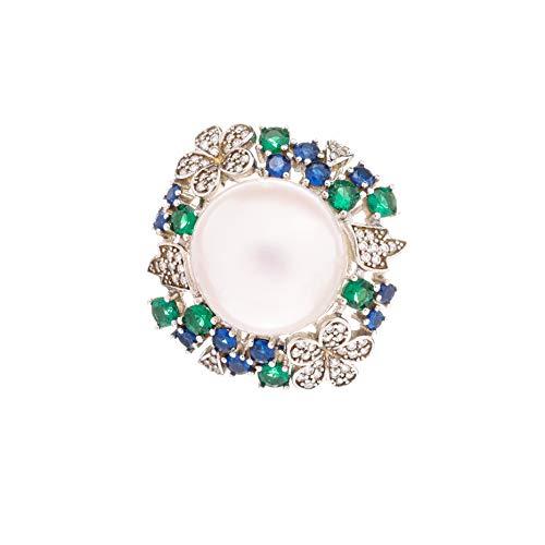 HAZITTER Damen Fingerring Perle Blumen Ring 925er Sterlingsilber mit Zirkonia Offene Perle Ring Verstellbare Fingerring, Beste Geschenk für Frauen, Hochzeit, Braut.