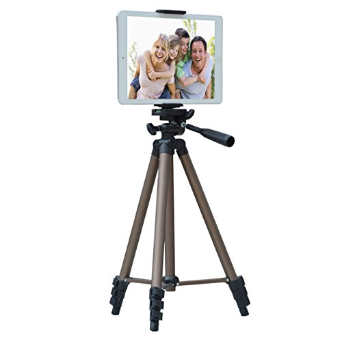 """Tripod for iPad and iPhone,50 inches Lightweight Aluminum Camera Tripod + 2 in 1 Holder Mount Fits Smartphone(Width 2""""-3.2"""") and Tablet (Width 4.3""""-7.2"""")"""