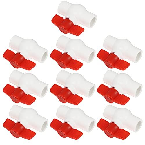 YARNOW 10 Piezas de Válvula de Bola de PVC Rojo T- Handle de Cierre de Agua Accesorios de Tubería Adaptador de Acoplamiento de Riego de Tubería de Agua Interruptor de Tratamiento