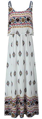 Kormei Damen Sommerkleid Ärmellos Boho A-Line Lang Kleid Maxikleid Party Strandkleid Weiß&Gelb S