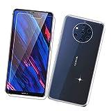 szjckj Funda para Nokia 9 PureView + 1 x Protector de Pantalla, Case Cover Carcasa Bumper Transparente Clear TPU Silicone Cristal Vidrio Templado para Nokia 9 PureView (5,99').
