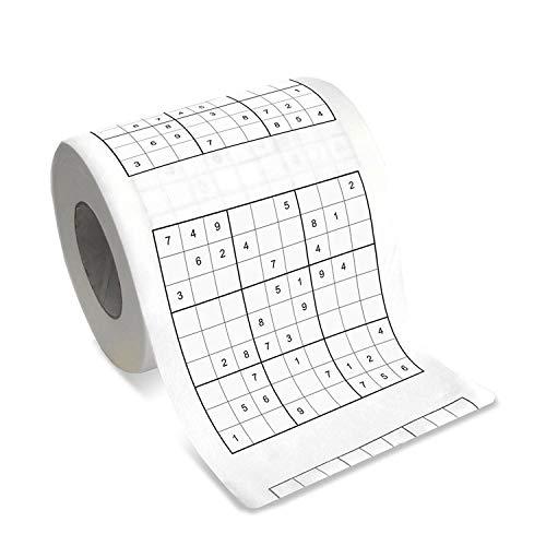 Rollo de papel higiénico SUDOKU. Papel para el váter con Sudokus. 200 láminas de celulosa. Triple capa, suave.