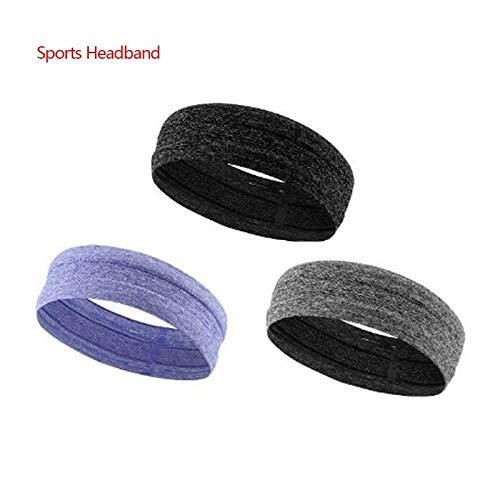 RXQCAOXIA Herren Stirnband, Sport Schweißband für Herren Damen Unisex, Performance Stretch & Feuchtigkeitstransport für Laufen Work Out Gym Tennis Basketball-3 Stück