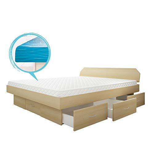 SONDERAKTION bellvita silverline Wasserbett mit Soft-Close Schubladensockel & Bettumrandung inkl. Lieferung & Aufbau durch Fachpersonal, 200cm x 200cm (buche)