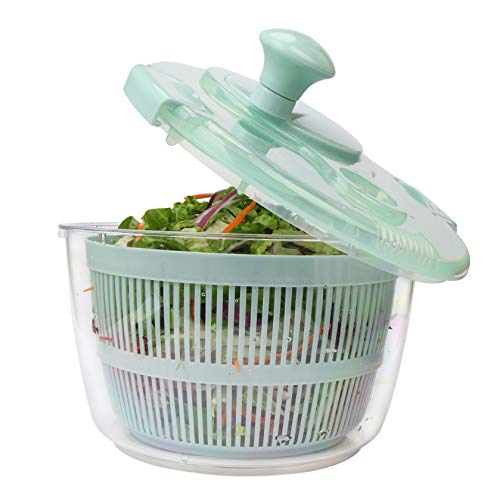 Peeka Manual Vegetable and Salad spinner With Secure & Rotary Handle Easily Dryer BPA Free Easy Spin Large 5L Capacity (clear)