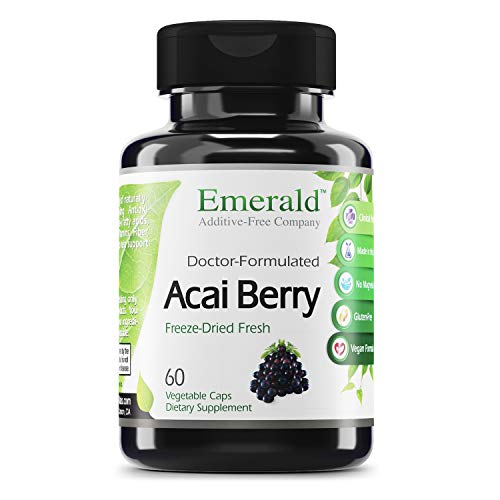 Emerald Labs Acai Berry Freeze-Dried Fresh - Increase Energy and Vitality - Supports Healthy Digestion, Fat Burning, Mental Alertness - (Fruitrients) - 60 Vegetable Capsules