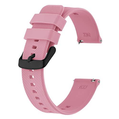 BISONSTRAP Correa de Reloj 18mm, Correas de Silicona de Liberación Rápida para Hombres y Mujeres (Rosa)
