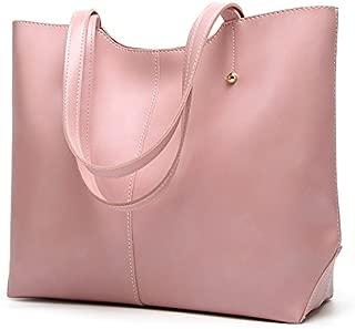Leather New Women's Handbag Soft Leather Slanting Fashion Retro Wind Handbag Large Female Wallet Large Capacity Waterproof (Color : Pink, Size : M)