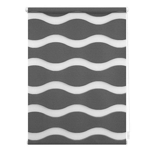 Lichtblick Doppelrollo Welle Klemmfix, 100 cm x 150 cm (B x L) in Anthrazit, ohne Bohren, Duo Rollo mit Jalousie-Funktion, dekorativer Sonnen- & Sichtschutz, für Fenster & Türen