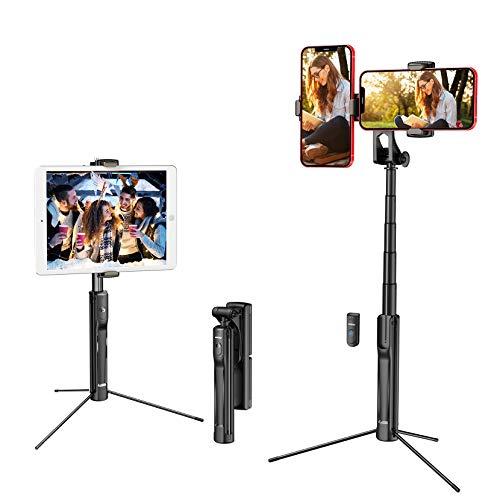 Mpow Selfie Stick Stativ für iPad, 4 in 1 Handy Stativ mit zwei Handyhalter, Bluetooth-Fernbedienung für iPhone 12 mini/12/ 12 Pro/12 Pro Max/11/11 Pro, Galaxy Note 20/ S20/S10, iPad /GoPro/Kamera