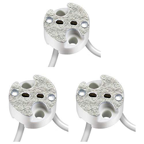 parlat Universal-Fassung aus Keramik für G4, GU5.3, GY6.35 Niedervolt Sockel 12V max. 25W, 3 Stk.