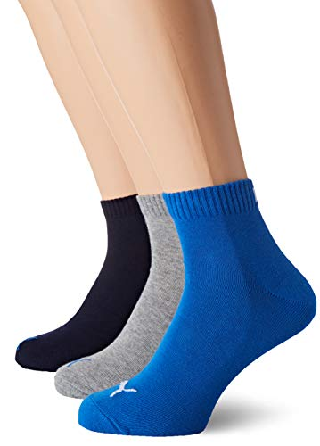 PUMA Plain 3P Quarter Socke, Mehrfarbig (Blue / Grey Melange), 43-46